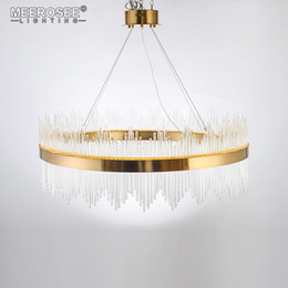 Discount light up pendant - New Arrival LED Pendant Light Crystal rods Hanging Lamp for Dinning room Gold Circle Suspension Lamparas Lustres Abajur