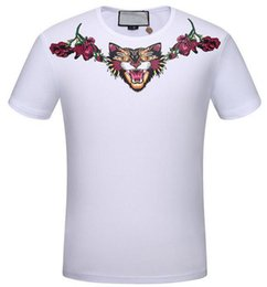 online shopping 2017 New spring summer men s t shirts Leopard Angry Cat Print cotton short sleeve Floral tee tops brand clothing casual T shirt
