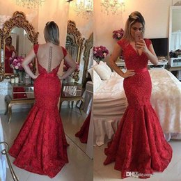 $enCountryForm.capitalKeyWord Canada - 2017 New Sexy Prom Dresses V Neck Cap Sleeves Evening Dress Mermaid Burgundy Full Lace Pearls Beaded Long Party Dress Pageant Formal Gowns