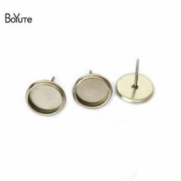 Boyute 100 stycken för att passa 8mm 10mm 12mm 14mm cabochon basörhängen rostfritt stål stud örhänge bas DIY smycken fynd