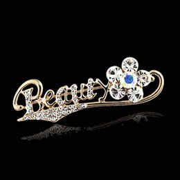 Crystals For Beauty NZ - Shiny Crystal Rhinestone Beauty Flower Brooch 18K Gold Plated Letter Brooch for Women Scarf Pins Wedding Bride Bouquet Brooches Xmas Gift