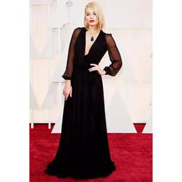 $enCountryForm.capitalKeyWord Canada - Plus Size 2017 Oscar Margot Robbie Black Evening Dresses Long Sleeve Party Dress Sexy Women Celebrity Dresses Ruffle Vestido Longo