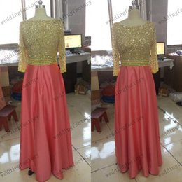 Luxury Crystal Pearls Prom Dresses Canada - Real Image Modest Prom Dress with Sleeves High Quality Luxury Beads Sequins Crystals Pearls Gold Coral Evening Party Gowns Made to Order