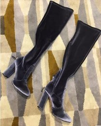 $enCountryForm.capitalKeyWord NZ - Best-selling 2018 Women Velvet Stretch Slim Fit Thigh High Boots Block Heels Back Zipper Woman Long Fashion Boots Brand Style