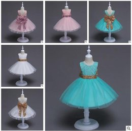 Barato O Concurso Mostra O Bebê-Boutique Girls Pageant Vestidos Lace Grandes tamanho Sequins Bow Flower Girls Dress V Voltar Princess Wedding Party Vestuário para bebês Baby Girls