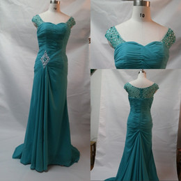 Sexy Design Mermaid V-neck Floor Length Prom Dresses Floor Length Chiffon  Bridesmaid Prom Dresses Beaded Sequins Charming Evening Dresses 5aa5d482adc6