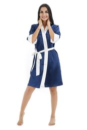 Blue Shirt For Wedding Australia - New Women Silk Kimono Robe with Trim for Bridesmaids Wedding Party Night Gown Pajamas Sleepwear 6 colors available Free Shipping