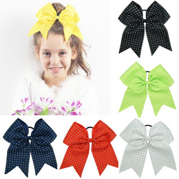 Cheerleader Hair Canada - 8 inch Rhinestone Cheer Bow Large Cheerleading Bows For Cheerleader Team Bow With Ponytail Holder For Teens Child