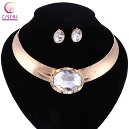 wholesale boho fashion UK - Women Gold Silver Plated Boho Round Jewelry Sets For Party Wedding With Earrings Statement Necklace Trendy Fashion Necklace