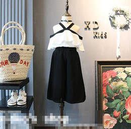 Girls Ruffle Pant Suits Canada - New Summer Girls Set Baby Kids Princess Clothing Suit V Neck Off Shoulder Ruffles White Tops Blouse + Black Pants 2pcs Outfits 3191