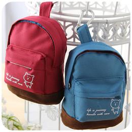 $enCountryForm.capitalKeyWord Canada - 5pcs New Korea cute little bear backpack mini canvas cloth women 's small wallet key cases