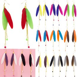 $enCountryForm.capitalKeyWord Canada - Feather Earrings 12 Colors wholesale lots Cute Bead Golden Chain Multi-Color Light Dangle Eardrop (Black White Brown Gray Red Green) (JF125)