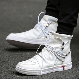a2845ca3ceab 2017 Hip hop rock Men Shoes Fashion kanye west Boots Autumn soft Leather  Footwear High Top Casual Shoes Superstar white black
