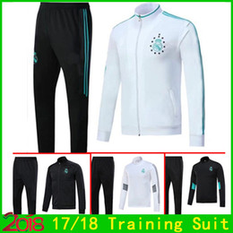 Barato Calça Preta De Terno Branco-New Style Soccer Tracksuit 2017 2018 Real Madrid Uniformes white Black Jackets + Pants Trajes de treino 17 18 Footbal Long Sleeve Top Quality Set