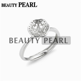 $enCountryForm.capitalKeyWord Canada - 5 Pieces Ring Blank Base Pearl Settings Zircon 925 Sterling Silver for 8-9mm Round Pearls and Cabochons