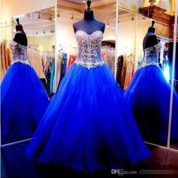 Quinceanera dresses color fuchsia online shopping - 2018 Elegant Royal Blue Fuchsia Ball Gowns Quinceanera Dresses vestido de Baile Sweet Beaded Crystals Sweetheart Long Prom Party Gowns