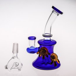 Wholesale Recycler Oil Rigs Glass Bong Handhold Mini Blue Glass Water Pipe Birdcage Perc Smoking Water Bong Matched Amber Bear Paws Beaker Pipes