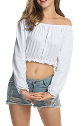 $enCountryForm.capitalKeyWord Canada - Hot summer women crop tops lady tees fashion ladies blouse in sexy slash neck long sleeve lady holiday or casual clothing 8612