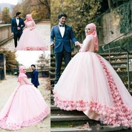 Muslim Wed Gown Cap Canada - Muslim Ball Gown Color Wedding Dresses 2017 Crew Long Sleeves 3D-Floral Appliques Saudi Arabia Wedding Dress Custom Made DTJ