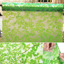 Wholesale New Adhesive Leaves Privacy Glass Frosted Window Film Sticker Green Window Films For Home Decoration x200cm