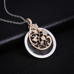 $enCountryForm.capitalKeyWord Australia - Elegant silver flower vine crystal pendant with round glass base Necklace With Free 24 Inches Chains For Women Valentine'S Day Gifts