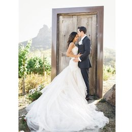 Sexy Mermaid Style Wedding Dresses UK - Princess Backless Wedding Dress 2017 Tulle Garden Style Mermaid Long Lace Bridal Gowns Custom Made Puffy Romantic Charming Sexy Appliques