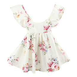Wholesale 2017 INS baby girl toddler Kids Summer clothes Pink Blue Rose Floral Dress Jumper Jumpsuits Halter Neck Ruffle Lace Sexy Back Wide Bowknot