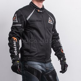 Riding oveRalls online shopping - Motorcycle racing riding Jacket Summer Wear Breathable Mesh coat Fabric Hard Protective Overalls Motorcycle Clothing NJ WY409 Black