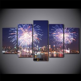 Discount cities paintings - 5 Pcs Set Framed HD Printed New York City Night Firework Wall Canvas Art Modern Painting Poster Picture For Home Decor