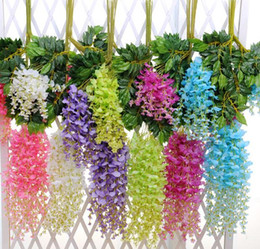 bulk vines UK - High Quality Elegant Bulk Silk Flowers Bush Wisteria Garland Hanging Ornament For Garden Home Wedding Decoration Supplies
