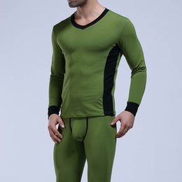 Barato Roupa Interior Masculina-WJ Brand Winter Thermodal Long Johns Set Men Algodão Underwear 2017 Comfy Mens Calor acolchoado Gay Sleepwear Tops Leggings Pants