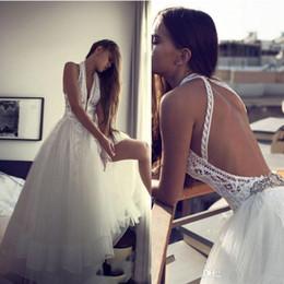 Discount romantic lace halter wedding dress - Romantic Wedding Dresses Sexy Backless Halter Hippie Style Bridal Gowns 2019 Chic Plus Size Lace Boho Beach A-Line Weddi