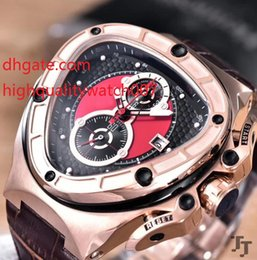 race chronograph Australia - Luxury Chronograph Triangle Watch Men Dial Lamborghini Anniversary VK Quartz Chronograph Working Sport Racing CarLeather Strap Bands Watc