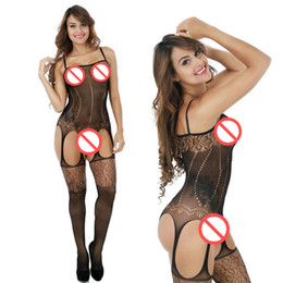 Sous-vêtements Chauds Érotiques Pas Cher-Sexy Bodystocking Lingerie sexy Lingerie féminine chaude Sous-vêtement Black Open Crotch Temptation Bas Body Suit Erotic Clothes
