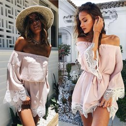Xs Robes À Manches Longues Pas Cher-2017 Vestidos Slash Neck Mini Dress Party Beach Sexy Ruffles Mode Femmes Elegant Sweet Lace Sundress Long Sleeve Off épaule FS1597
