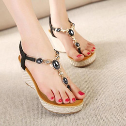 Comfortable Soft Women Shoes Canada - 2017 Bohemian Shoes Woman Diamond Comfortable High Hell Wedges Women Sandals Soft Rubber Hand-Beaded Style Sandals Women Sandals back strap