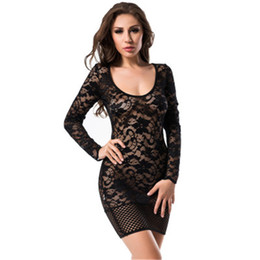 2017 Women fashion long sleeves nightclub sexy low-cut solid deep party  openwork backless lace mini dress yw-043 d1ad99091