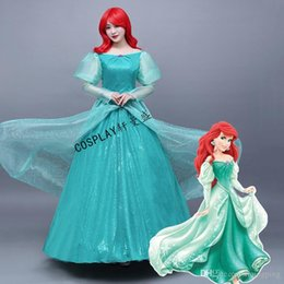 Pequeños Vestidos Princesa Sirena Baratos-Hot Sale 2017 Green Slash Manga manga larga cuello Anime Little Mermaid Alice Cosplay Princesa Dress For Women