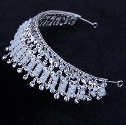 Diamond Ball Hair Canada - High quality wholesale Korean wedding dress wedding bride Crystal Tiara jewelry luxurious Baroque diamond free shipping hair hoop3-47