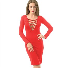 $enCountryForm.capitalKeyWord UK - Wholesale- Hot Sexy Bodycon Bandage Dress Plus Size 2016 Womens Autumn Long Sleeve White Red Grey Black Midi Clubwear Party Pencil Dresses