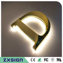 lights back mirror Canada - Factory Outlet Outdoor 3D brushed mirror polished stainless steel back lit LED channel letter,3D metal illuminated letter signs