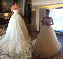 $enCountryForm.capitalKeyWord Australia - Off the Shoulder Sparkling Vintage Lace Wedding Dresses 2017 A-Line Court Train Backless Vestido De Novia Long Bridal Gowns Custom BA6152