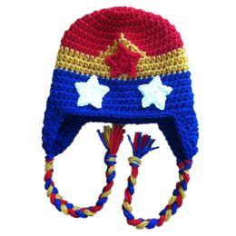 Crochet Baby Star Canada - Super Cool Wonder Woman Hat,Handmade Knit Crochet Baby Boy Girl Earflap Winter Hat with Braids&Stars,Children Toddler Photo Prop
