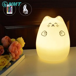 Discount mood led light Wholesale- Silicon Animal LED Night Light Children Touch Sensor RGB Novelty Lighting Mood USB Rechargeable Table Lamp for Kids