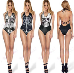 Barato V Biquinis De Cordas-Sexy One Piece V neck Lace-up String Backless Bikini Colorful Skull Print Bodysuit Novo Design Rock roll Skeleton Skull Swimsuit
