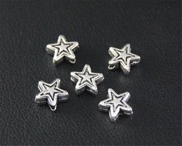 Star Jewellery Canada - 100pcs Antique Sliver Star Spacer Beads Charm Jewellery Pendant For Bracelet Necklace 7mm A2112