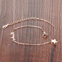 79a8edf4c823 8 Fotos Compra Online Pulseras de oro rosa-Nueva Moda Caliente Mujeres  Joyería Fina Lucky Star Colgante