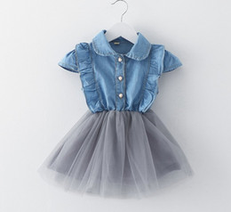 Nouveau Style De Robe Bleue Pas Cher-New Girls Denim Robe bleue Baby Girls Summer Cowboy Stitching Lace Net Yarn Robes Enfants Style coréen Princesse Robe Cute Girl Clothing