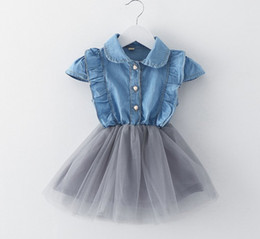 Barato Princesa Bonito Das Meninas-New Girls Denim Vestido azul Baby Girls Summer Cowboy Stitching Lace Net Yarn Vestidos Crianças Estilo coreano Princess Dress Cute Girl Clothing