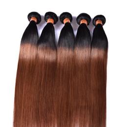Großhandel PASSION Ombre Hair Products 1B / 30 Brasilianische Remy-Echthaar-Schussfäden 3 Bündel zweifarbige malaysische peruanische gerade Echthaar-Extensions